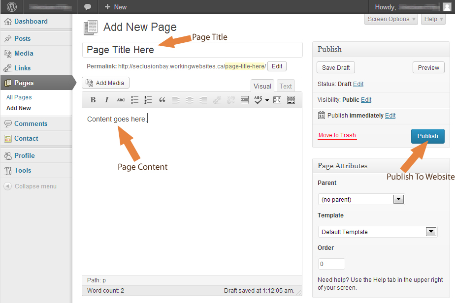 Adding a new page to a WordPress site